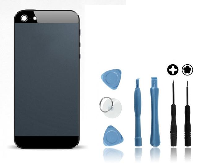 Kit Coque arrière pour iPhone 5 Noir : Coque arrière + Outils