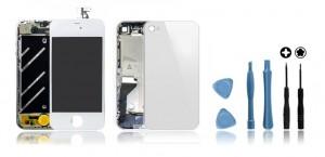 Kit de remise à neuf iPhone 4 Blanc : Ecran + Châssis + Vitre Arrière + Outils Kit de remise à neuf iPhone 4 Blanc : Ecran + Châssis + Vitre Arrière + Outils