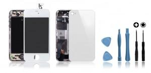 Kit de remise à neuf iPhone 4S Blanc : Ecran + Châssis + Vitre Arrière + Outils Kit de remise à neuf iPhone 4 Blanc : Ecran + Châssis + Vitre Arrière + Outils