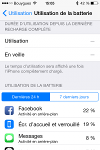 Liste des applications qui consomment la batterie d'un iPhone