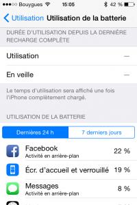 Liste des applications qui consomment la batterie d'un iPhone